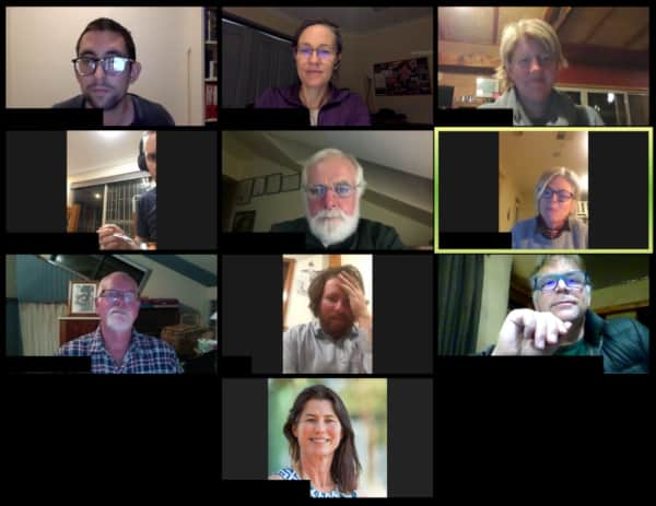 A screenshot from a Zoom session with TRY members